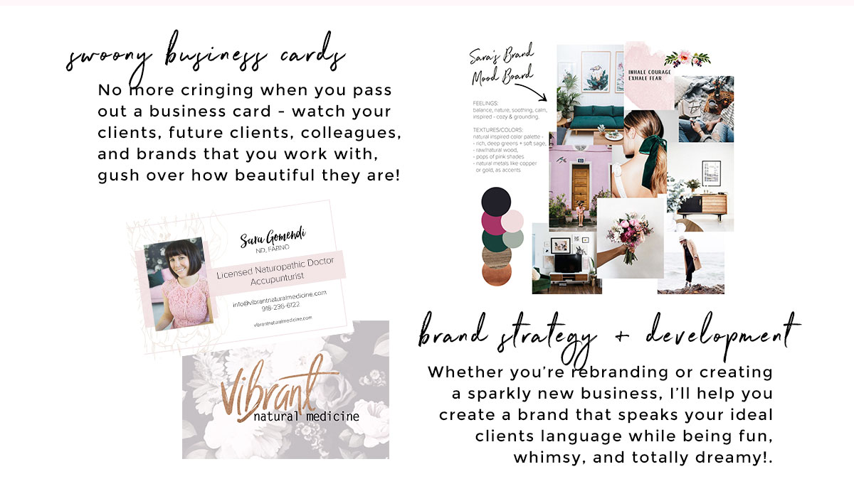 Brand Strategy, Business Card Design + Creative Direction Services for Female Entrepreneurs
