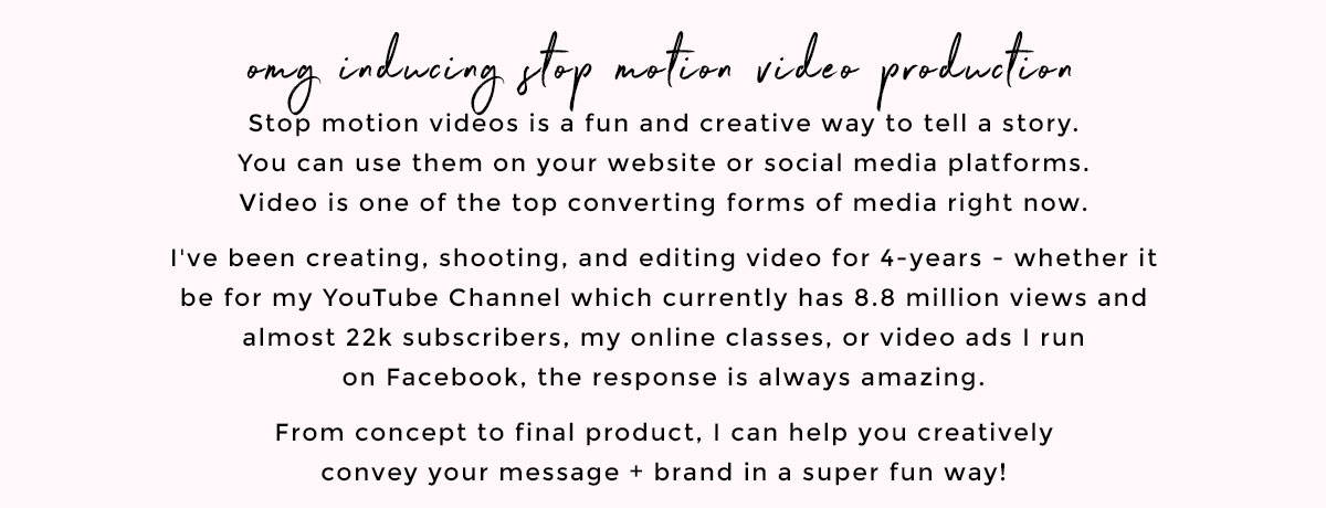 Stop Motion + Creative Direction Services for Female Entrepreneurs