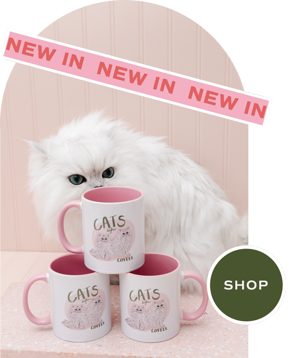 Pink Cat Mug Designed By Shelley Elizabeth Designs